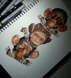 Tattoo, three monkeys, neo traditional, drawing, illustration, coloured, animal, steampunk by eleonora bordoni