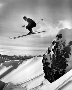 Skiing at Sugar Bowl near Donner Pass in California's Sierra Nevada mountains. Photograph by Ray Atkeson, 1940s.