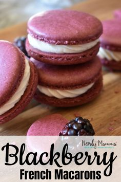 This Blackberry Macaron Recipe is so easy. And the flavor. These little co… Dude. This Blackberry Macaron Recipe is so easy. And the flavor. These little cookies are going to be the death of me. But a happy death. French Macaroon Recipes, French Macaroons, French Macaron Flavors, Macaroons Flavors, French Desserts, Just Desserts, Delicious Desserts, Cookie Recipes, Dessert Recipes