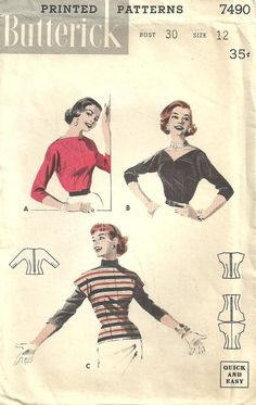 Butterick 7490 Vintage 50s Sewing Pattern Blouse Size 12