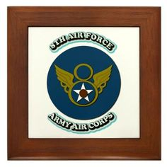 """AAC - 8th Air Force Military Framed Tile by CafePress by CafePress. $15.00. Two holes for wall mounting. Rounded edges. Quality construction frame constructed of stained Cherrywood. Frame measures 6"""" X 6"""" x 0.5"""" with 4.25"""" X 4.25"""" tile. 100% satisfaction guarantee return policy. Army Air Corps - 8th Air Corps,Army,Air,Corps,8th,Air,Corps,United, States, Army, Air, Forces,Air,Force,Unit Crest, vector image, Patch, Shoulder Sleeve Insignia, Shoulder,Sleeve, Insignia, Eng,Bde"""