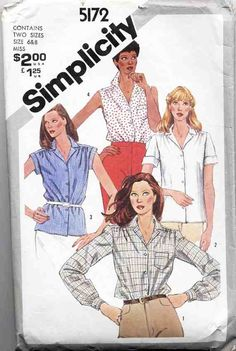Simplicity Sewing Pattern 5172 Misses Shirts Size 6 & 8 Used