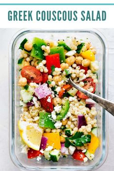 15 Healthy No Chicken Meal Prep Recipes - Beauty Bites - A delicious and healthy Greek couscous salad that everyone will go crazy for! (Meal prep options and tips included) via chelseasmessyapro… Lunch Recipes, Vegetarian Recipes, Healthy Recipes, Keto Recipes, Vegetarian Mexican, Simple Recipes, Healthy Options, Clean Eating, Healthy Eating