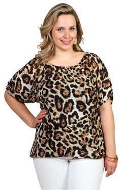 plus size cheetah print chiffon peasant top