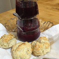 Buttermilk Biscuits and homemade Plum, Cherry, and Raspberry jams.