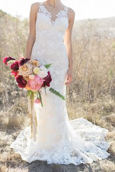 Burgundy and Blush Bouquet with Gold Tassels | Carlie Statsky Photography | Luxe Bohemian Wedding in Jewel Tones