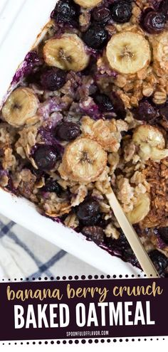 A simple, healthy, and delicious baked oatmeal recipe perfect for breakfast! Made with oats, maple syrup, coconut milk, fresh berries and bananas, it is great for lazy weekends or even for busy days. Plus, it reheats really well. Save this Banana Berry Crunch Baked Oatmeal for later! Healthy Banana Recipes, Delicious Breakfast Recipes, Oatmeal Recipes, Healthy Snacks, Dinner Recipes, Easy Family Meals, Quick Easy Meals, Family Recipes, Banana Berry