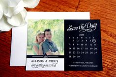 Save the Date Magnet, save the dates, script, black and white, wedding magnet, Photo Magnet Wedding by KraftWeddingPapers