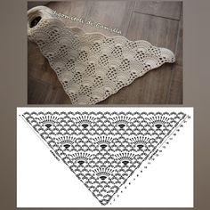 detailed diagram for lacy triangular shawl - Salvabrani Crochet Shawl Diagram, Crochet Poncho, Crochet Chart, Knit Or Crochet, Crochet Scarves, Crochet Motif, Crochet Clothes, Crochet Stitches, Crochet Patterns