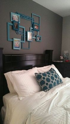 DIY Picture Frame Collage - paint inexpensive picture frames and attach! #DIYHomeDecorFrames