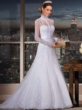 Elegant High Neck vestidos de noiva Brazil wedding dresses  A-line Wedding Gown with long sleeve lace bride dresses(China (Mainland))