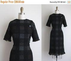 "SALE 30% OFF 1960s Dress / Vintage 1960s Wool Dress / Plaid Wool Wiggle Dress 28"" Waist"