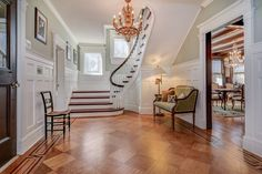 Beautiful old house for sale 205 Fernwood Montclair NJ - love the staggered windows on the stair landing.