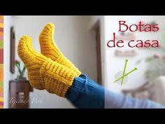 Tejer paso a paso: Botas de casa tejidas en dos agujas o palitos en punto choclo! - YouTube