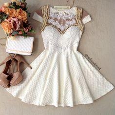 Vestido CAROLINA  Jacquard Premium C/ BOJO  (COR Off White)