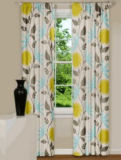 grey, yellow and light teal curtains - these would be perfect in our bedroom!