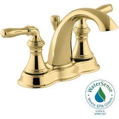 KOHLER Devonshire 4 in. Centerset 2-Handle Mid-Arc Bathroom Faucet in Vibrant Polished Brass - K-393-N4-PB - The Home Depot