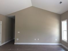 Living Room Sherwin Williams balanced beige and wood linoleum floors. They look like real wood! Classy Living Room, Beige Living Rooms, Living Room Colors, Interior Wall Colors, Country Interior Design, Balanced Beige Sherwin Williams, Linoleum Flooring, Floors, Condo Decorating