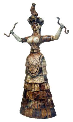 Snake Goddess, glazed composition ware, Minoans on Crete, Middle Bronze Age (1900 - 1600 BC) - from shrine of the Palace of Knossos.  Bothros: sacred pit to put old offerings.  Snake goddess is from a bothros of temple/shrine of Knossos.  One of a pair of goddesses.  Holding snakes in each hand with a cat on her head.
