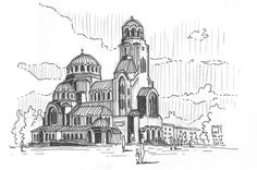 Two day-break in Sofia with an uncompleted drawing of the city's symbol   Alexander Nevsky Cathedral Sofia, Bulgaria 15.07.2015