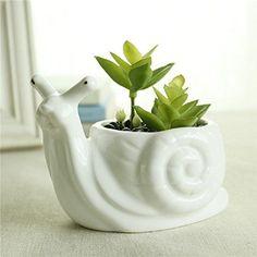 GeLive Snail White Ceramic Succulent Planter Flower Pot W