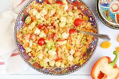 Couscous salade met gerookte kip Vegan Lifestyle, Paella, Risotto, Bbq, Easy Meals, Food And Drink, Pizza, Lunch, Feta