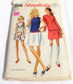 "1960s MOD Drop waist dress Sleeveless sundress Jacket sewing pattern Simplicity 8098 Size 10 Bust 32.5"" UNCUT FF by retroactivefuture on Etsy"