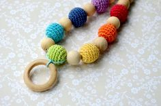Mommy bead with ring Teething necklace Nursing necklace Wooden ring Crochet Necklace Ecofriendly READY TO SHIP Rainbow Multicolor colorful