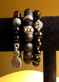 Black Bracelets, Black Onxy Beads, Black Crystal Beads & Black Matted Beads w/Silver Spacers.  $20.00 each