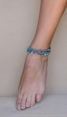 Crochet Beaded Anklet. Crochet Jewelry. por KaterinaDimitrova
