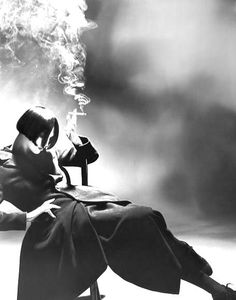 """Susie Smoking"" - Yohji Yamamoto Autumn/Winter 1988-99. Photo by Nick Knight. Original in colour. °"