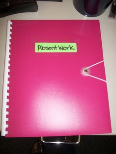Absent Work Folder - Finally, an absent work system that works (in conjunction with my classroom website). I can honestly say this is an area I've struggled with from the get-go.I've tried numerous systems and none have worked until this one. This folder has six pockets - one for each period. They are clearly labeled. If a student isn't in class to get their work, I write their name at the top and put it in the correct folder. It is their job to get the late work and make up any missed work.