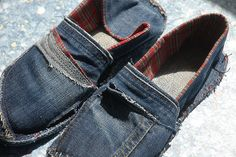 Now I really want to make my own shoes out of denim! Step by step instructions on how to