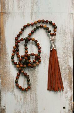 Leather Tassel Necklace Long Boho Necklace by FlowersInMyHairShop