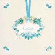 Het uilennestje geboortekaartje Luca. www.hetuilennestje.nl Romantisch, bloemen, lint, strikje.