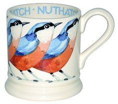 Nuthatch Half Pint Mug from Emma Bridgewater's new range of bird and dog themed mugs.  Find out more here:  http://www.ukhomeideas.co.uk/ideas/other/tableware/emma-bridgewaters-new-bird-and-dog-themed-mugs/