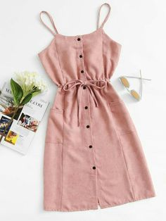 Shop Single Breasted Drawstring Waist Pocket Side Dress at ROMWE, discover more fashion styles online. Trendy Summer Outfits, Cute Girl Outfits, Cute Casual Outfits, Stylish Dresses, Pretty Outfits, Stylish Outfits, Cute Dresses, Casual Dresses, Linen Dresses