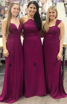 Plum Cheap Mismatched Custom Long Bridesmaid Dresses c88e4ce2c345