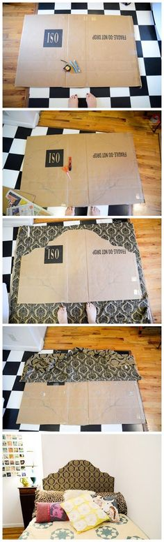 How to make a simple headboard with some fabric and cardboard! No saws or heavy-duty tools required! Update your dorm room or apartment! ...