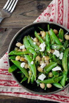 Lemon Dill Snap Peas and Chickpeas + goat cheese  & more. Yum!