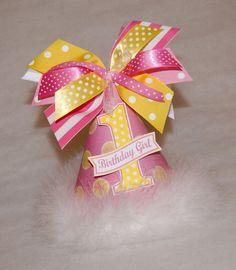 Pink Lemonade and Yellow Polka Dot Party Hat. $13.50, via Etsy.