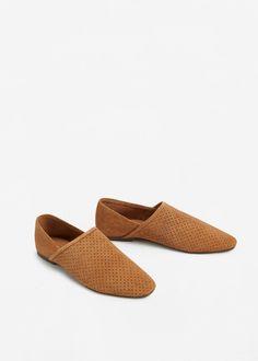 Babuchas de pele croûte - Sapatos de Mulher | MANGO Portugal