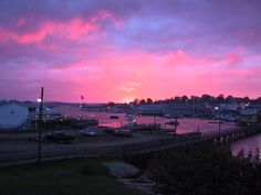 The most incredible sunset I have ever witnessed, looking out over the footbridge in Boothbay Harbor, Maine.