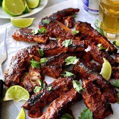Oven Baked Pork Ribs Chipotle BBQ Sauce - fall apart meat all made in one pan, even the sauce!