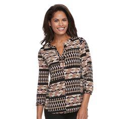 Women's Dana Buchman Knit Henley Top, Size: Medium, Dark Beige