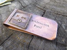 Hand Stamped Retirement Gift Money Clip Gift For by hjvdesigns