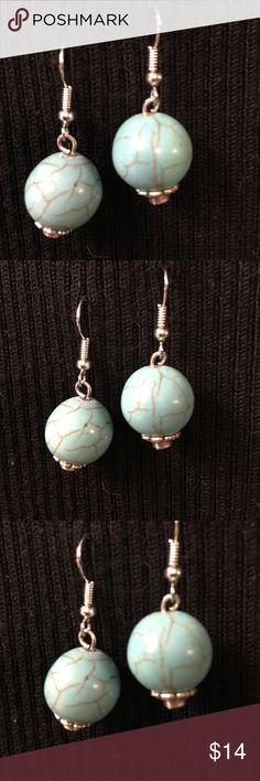 "Silver tone & Turquoise LOOK Pierced Earrings Silver tone & Turquoise LOOK Pierced Earrings   Never worn. Approximately 1"" tall. x 1/2"" wide Jewelry Earrings"