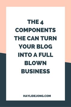 Most bloggers that I have met have the goal of making at least a part time income-but sometimes the dream of owning your own business seems too far fetched.  Little did they know that just four components can turn your blog into a business- check out this post to see which aspects of your blog should be worked on to get it functioning more like a business.