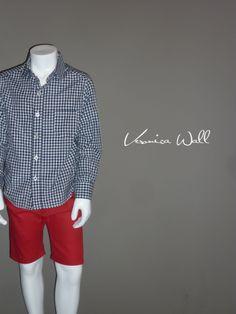conjunto niño, short rojo sport con bolsas ojal en espalda, camisa básica a cuadros y bolsa en pecho