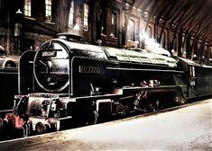 60136 Alcazar at King's Cross Diesel Locomotive, Steam Locomotive, Steam Trains Uk, Steam Railway, Railway Museum, British Rail, Steam Engine, East Coast, Around The Worlds